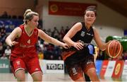 26 January 2020; Rebecca Nagle of Pyrobel Killester in action against Laura Morrissey of Singleton Supervalu Brunell during the Hula Hoops Paudie O'Connor National Cup Final between Singleton SuperValu Brunell and Pyrobel Killester at the National Basketball Arena in Tallaght, Dublin. Photo by Brendan Moran/Sportsfile
