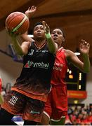 26 January 2020; Christa Reed of Pyrobel Killester in action against Treyanna Clay of Singleton Supervalu Brunell during the Hula Hoops Paudie O'Connor National Cup Final between Singleton SuperValu Brunell and Pyrobel Killester at the National Basketball Arena in Tallaght, Dublin. Photo by Brendan Moran/Sportsfile