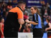 26 January 2020; Referee Niamh Callaghan speaking with Pyrobel Killester coach Karl Kilbride during the Hula Hoops Paudie O'Connor National Cup Final between Singleton SuperValu Brunell and Pyrobel Killester at the National Basketball Arena in Tallaght, Dublin. Photo by Brendan Moran/Sportsfile