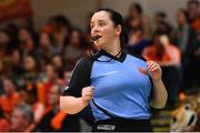 26 January 2020; Referee Lynda Cassidy during the Hula Hoops Paudie O'Connor National Cup Final between Singleton SuperValu Brunell and Pyrobel Killester at the National Basketball Arena in Tallaght, Dublin. Photo by Brendan Moran/Sportsfile