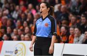 26 January 2020; Referee Ines Freire during the Hula Hoops Paudie O'Connor National Cup Final between Singleton SuperValu Brunell and Pyrobel Killester at the National Basketball Arena in Tallaght, Dublin. Photo by Brendan Moran/Sportsfile