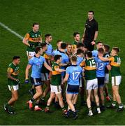 25 January 2020; Referee Seán Hurson looks on as players from both sides jostle each other after the final whistle had blown at the Allianz Football League Division 1 Round 1 match between Dublin and Kerry at Croke Park in Dublin. Photo by Ray McManus/Sportsfile