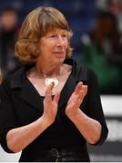 26 January 2020; Former President of Basketball Ireland Mary Baneham after the Hula Hoops Paudie O'Connor National Cup Final between Singleton SuperValu Brunell and Pyrobel Killester at the National Basketball Arena in Tallaght, Dublin. Photo by Brendan Moran/Sportsfile