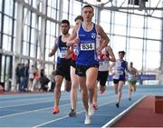 26 January 2020; Darragh Carroll of Tullamore Harriers AC, Offaly, leads the Men's 800m event during the AAI National Indoor League Round 2 at AIT Indoor Arena in Athlone, Westmeath. Photo by Ben McShane/Sportsfile
