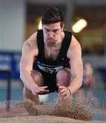 26 January 2020; Conor Wilson of Menapians AC, Wexford, competes in the Men's Triple Jump event during the AAI National Indoor League Round 2 at AIT Indoor Arena in Athlone, Westmeath. Photo by Ben McShane/Sportsfile