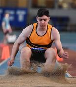 26 January 2020; Cathal Scanlon of Leevale AC, Cork, competes in the Men's Triple Jump event during the AAI National Indoor League Round 2 at AIT Indoor Arena in Athlone, Westmeath. Photo by Ben McShane/Sportsfile