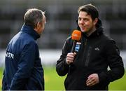 26 January 2020; Dublin manager Mattie Kenny is interviewed by TG4's GAA Beo commentator Cuán Ó Flatharta before the Allianz Hurling League Division 1 Group B Round 1 match between Kilkenny and Dublin at UPMC Nowlan Park in Kilkenny. Photo by Ray McManus/Sportsfile