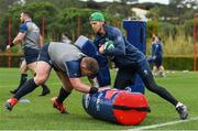 28 January 2020; Tadhg Furlong with forwards coach Simon Easterby during Ireland Rugby squad training at The Campus in Quinta da Lago, Portugal. Photo by Brendan Moran/Sportsfile
