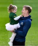 28 January 2020; Irish soccer star James McClean is pictured with his 2 year old daughter Willow at the unveiling of Aviva's new Sensory Hub in Aviva Stadium. Aviva, Ireland's largest insurer, and proud sponsors of the home of Irish rugby and soccer launched the initiative to make Aviva Stadium a more inclusive space for people with additional sensory needs. The state-of-the-art sensory booth is free for any fan to use during their visit to Aviva Stadium. For more information follow Aviva on Instagram, Twitter, and Facebook or visit www.aviva.ie/sponsorship. Photo by Ramsey Cardy/Sportsfile