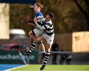 28 January 2020; James Dillon of Belvedere College contests a high ball against Ross Moore of St Mary's College during the Bank of Ireland Leinster Schools Senior Cup First Round match between Belvedere College and St Mary's College at Energia Park in Dublin. Photo by Daire Brennan/Sportsfile
