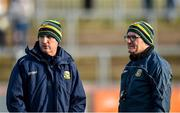 26 January 2020; Meath manager Andy McEntee, left, with, coach Colm Nally before the Allianz Football League Division 1 Round 1 match between Tyrone and Meath at Healy Park in Omagh, Tyrone. Photo by Oliver McVeigh/Sportsfile