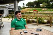 28 January 2020; Jacob Stockdale during an Ireland Rugby press conference at The Campus in Quinta da Lago, Portugal. Photo by Brendan Moran/Sportsfile
