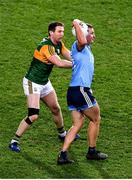 25 January 2020; Ciarán Kilkenny of Dublin catches the ball ahead of Kerry full back Tadhg Morley, in the 67th minute, and ultimately calls for a 'mark' during the Allianz Football League Division 1 Round 1 match between Dublin and Kerry at Croke Park in Dublin. Photo by Ray McManus/Sportsfile