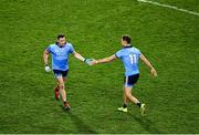 25 January 2020; Paddy Andrews of Dublin, left, shakes hands with team-mate Paul Mannion as he is substituted during the Allianz Football League Division 1 Round 1 match between Dublin and Kerry at Croke Park in Dublin. Photo by Ray McManus/Sportsfile