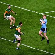 25 January 2020; Conor Mchugh of Dublin catches the ball and ultimately calls a 'mark' and Kerry players Graham O'Sullivan, left, and Tadhg Morley look on during the Allianz Football League Division 1 Round 1 match between Dublin and Kerry at Croke Park in Dublin. Photo by Ray McManus/Sportsfile