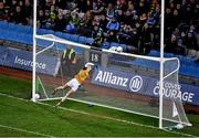25 January 2020; Kerry goalkeeper Shane Ryan watches as a shot by Dublin corner forward, Dean Rock, hits the cross bar during the Allianz Football League Division 1 Round 1 match between Dublin and Kerry at Croke Park in Dublin. Photo by Ray McManus/Sportsfile
