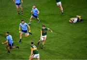 25 January 2020; The Kerry captain David Clifford, under pressure from Dublin players James McCarthy, 5, David Byrne, 3, and Philly McMahon, as he prepares to pass the ball to team-mate Gavin O'Brien during the Allianz Football League Division 1 Round 1 match between Dublin and Kerry at Croke Park in Dublin. Photo by Ray McManus/Sportsfile
