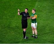 25 January 2020; Referee Seán Hurson indicates to Stephen O'Brien of Kerry where previous incidents had happened before showing him a yellow card during the Allianz Football League Division 1 Round 1 match between Dublin and Kerry at Croke Park in Dublin. Photo by Ray McManus/Sportsfile