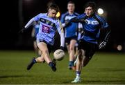 28 January 2020; Padraig Purcell of UCD in action against Simon Murphy of Maynooth during the Freshers A Football Championship Round 2 match between UCD and Maynooth at UCD Belfield in Dublin. Photo by Matt Browne/Sportsfile