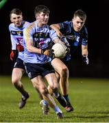 28 January 2020; Adam Loughran of UCD in action against Sam McCormack of Maynooth during the Freshers A Football Championship Round 2 match between UCD and Maynooth at UCD Belfield in Dublin. Photo by Matt Browne/Sportsfile