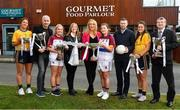 29 January 2020; Gourmet Food Parlour is celebrating the passion of Ladies Footballers to mark the launch of the 2020 GFP Ladies HEC Third Level Championships. In attendance at the launch are, from left, Laura McGinley of DCU and Dublin, Donal Barry, HEC Chairperson, Eilish Ronayne of UL and Mayo, Helen O'Rourke, CEO LGFA, Lorraine Heskin, CEO, Gourmet Food Parlour, Hannah O'Donoghue of UL and Kerry, Tomás O Sé, GFP Ambassador, Muireann Atkinson of DCU and Monaghan and Con Moynihan, LGFA. Photo by David Fitzgerald/Sportsfile