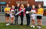 29 January 2020; Gourmet Food Parlour is celebrating the passion of Ladies Footballers to mark the launch of the 2020 GFP Ladies HEC Third Level Championships. In attendance at the launch are, from left, Laura McGinley of DCU and Dublin, Eilish Ronayne of UL and Mayo, Donal Barry, HEC Chairperson, Helen O'Rourke, CEO LGFA, Lorraine Heskin, CEO, Gourmet Food Parlour, Tomás O Sé, GFP Ambassador, Hannah O'Donoghue of UL and Kerry and Muireann Atkinson of DCU and Monaghan. Photo by David Fitzgerald/Sportsfile