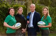 29 January 2020; Presenters Daire O'Brien and Fiona Coghlan with Ireland players Lindsay Peat, left, and Eimear Considine in attendance during the launch of RTÉ's Six Nations Coverage at the RTÉ Television Centre in Dublin. Photo by Matt Browne/Sportsfile