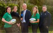29 January 2020; Presenters Daire O'Brien and Fiona Coghlan with Ireland players Lindsay Peat, left, and Eimear Considine and head coach Adam Griggs in attendance during the launch of RTÉ's Six Nations Coverage at the RTÉ Television Centre in Dublin. Photo by Matt Browne/Sportsfile