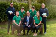 29 January 2020; Presenter Daire O'Brien with Ireland women's players Lindsay Peat, left, and Eimear Considine with, back row, from left to right, Ireland U20 head coach Noel McNamara, Ireland U20 players Mark Hernan, Brian Deeny and Ireland women's head coach Adam Griggs in attendance during the launch of RTÉ's Six Nations Coverage at the RTÉ Television Centre in Dublin. Photo by Matt Browne/Sportsfile