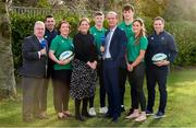 29 January 2020; Presenters Daire O'Brien and Fiona Coghlan with, from left, RTÉ Radio Sport's Michael Corcoran, Ireland U20 head coach Noel McNamara, Ireland players Lindsay, Mark Hernan, Brian Deeny Eimear Considine, and Ireland women's head coach Adam Griggs in attendance during the launch of RTÉ's Six Nations Coverage at the RTÉ Television Centre in Dublin. Photo by Matt Browne/Sportsfile