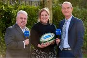 29 January 2020; Presenters Fiona Coghlan and Daire O'Brien, right, with RTÉ Radio Sport's Michael Corcoran in attendance during the launch of RTÉ's Six Nations Coverage at the RTÉ Television Centre in Dublin. Photo by Matt Browne/Sportsfile