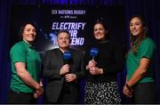 29 January 2020; Presenters Eddie O'Sullivan and Fiona Coghlan with Ireland players Lindsay Peat, left, and Eimear Considine in attendance during the launch of RTÉ's Six Nations Coverage at the RTÉ Television Centre in Dublin. Photo by Matt Browne/Sportsfile