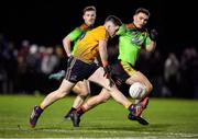 29 January 2020; David Garland of DCU Dóchas Éireann in action against Richard Hitchcock of IT Carlow during the Sigerson Cup Final match between DCU Dóchas Éireann and IT Carlow at Dublin City University Sportsgrounds in Glasnevin, Dublin. Photo by Seb Daly/Sportsfile
