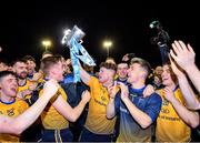 29 January 2020; Conor Morrison, centre, and Evan Comerford celebrate with team-mates following their side's victory of the Sigerson Cup Final match between DCU Dóchas Éireann and IT Carlow at Dublin City University Sportsgrounds in Glasnevin, Dublin. Photo by Seb Daly/Sportsfile