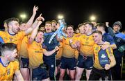 29 January 2020; DCU Dóchas Éireann captain Brendan McCole, centre, celebrates with team-mates following his side's victory of the Sigerson Cup Final match between DCU Dóchas Éireann and IT Carlow at Dublin City University Sportsgrounds in Glasnevin, Dublin. Photo by Seb Daly/Sportsfile