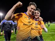 29 January 2020; Mark Curran, left, and Stephen Smith of DCU Dóchas Éireann celebrate following their side's victory of the Sigerson Cup Final match between DCU Dóchas Éireann and IT Carlow at Dublin City University Sportsgrounds in Glasnevin, Dublin. Photo by Seb Daly/Sportsfile