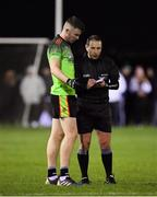 29 January 2020; Niall Hughes of IT Carlow is spoken to by referee Derek O'Mahony during the Sigerson Cup Final match between DCU Dóchas Éireann and IT Carlow at Dublin City University Sportsgrounds in Glasnevin, Dublin. Photo by Seb Daly/Sportsfile