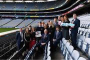 30 January 2020; Uachtarán Chumann Lúthchleas Gael Seán Ó hÓráin, with, from left, Eoghan Hanley, Naomi Ní Chearbhaill, Darragh Mac an Bhaird, Emma Ní Chinnèide, Dónall Ó Cinnéide, Fionnán Ó Morlaí, Lís Ní Dhálaigh, Aoibhín Ní Carthaigh, Ciara O Donnell, Dónal Ó hAiniféin, former Kerry manager Eamonn Fitzmaurice, Alan Ó Fionnagáin, Máire Treasa Ní Dhubhghaill, Lilí Ní Bhrádaigh agus Stiofan Gamal, during the GAA / PDST Future Leaders Leagan Gaeilge launch at Croke Park in Dublin. Photo by Matt Browne/Sportsfile