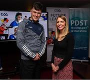 30 January 2020; Máire Treasa Ní Dhubhghaill, Sports Presenter, TG4, right, with Éanna Ó Curraoin from Colaiste Cholmcille, Gaillimh, during the GAA / PDST Future Leaders Leagan Gaeilge launch at Croke Park in Dublin. Photo by Matt Browne/Sportsfile