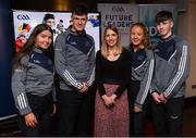 30 January 2020; Máire Treasa Ní Dhubhghaill, Sports Presenter, TG4, with, from left, Róisín Ní Chonghaile, Éanna Ó Curraoin, Kianna Ní Mhárta, Tomás Ó Curraoin, from Colaiste Cholmcille, Gaillimh, during the GAA / PDST Future Leaders Leagan Gaeilge launch at Croke Park in Dublin. Photo by Matt Browne/Sportsfile