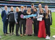 30 January 2020; Máire Treasa Ní Dhubhghaill, Sports Presenter,TG4, with, from left, Eoghan Hanley, Alan Ó Fionnagáin, Kianna Ní Mhárta, Fionnán Ó Morlaí, Tomás Ó Curraoin, Éanna Ó Curraoin, Róisín Ní Chonghaile, Dónal ó Fátharta, Emma Ní Chinnèide, Jamie Ó Tuama, Oifigeach Gaeilge CLG, agus Naomi Ní Chearbhaill during the GAA / PDST Future Leaders Leagan Gaeilge launch at Croke Park in Dublin. Photo by Matt Browne/Sportsfile