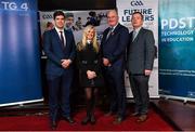 30 January 2020; Uachtarán Chumann Lúthchleas Gael Seán Ó hÓráin, with, from left, former Kerry manager Eamonn Fitzmaurice, Ciara O Donnell, PDST, agus Dónal Ó hAiniféin, Cathaoirleach COGG, during the GAA / PDST Future Leaders Leagan Gaeilge launch at Croke Park in Dublin. Photo by Matt Browne/Sportsfile