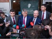30 January 2020; Minister of State for Tourism and Sport Brendan Griffin TD, left, with from left to right, FAI Interim Chief Executive Gary Owens, Minister for Transport, Tourism and Sport, Shane Ross TD, and FAI Interim Deputy Chief Executive Niall Quinn following a Government Officials, FAI, UEFA and Bank of Ireland meeting at the Department of Transport, Tourism and Sport in Dublin. Photo by Harry Murphy/Sportsfile
