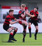 30 January 2020; Tom Geoghegan of Wesley College wins possession of a high ball against Joshua Crossley, right, and Joshua Treacy of Kilkenny College during the Bank of Ireland Leinster Schools Senior Cup First Round match between Kilkenny College and Wesley College at Energia Park in Dublin. Photo by Ben McShane/Sportsfile