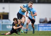 30 January 2020; Eddie Kelly of St Michael's College is tackled by James McCormack of Temple Carrig School during the Bank of Ireland Leinster Schools Senior Cup First Round match between Temple Carrig School and St Michael's College at Lakelands Park in Terenure, Dublin. Photo by Sam Barnes/Sportsfile