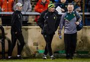 25 January 2020; Donegal manager Declan Bonner, centre, enters the field along with selector Karl Lacey, left, and Dr Kevin Moran, Mayo team doctor, before the Allianz Football League Division 1 Round 1 match between Donegal and Mayo at MacCumhaill Park in Ballybofey, Donegal. Photo by Oliver McVeigh/Sportsfile