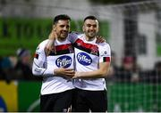 30 January 2020; Jordan Flores of Dundalk celebrates after scoring his side's first goal with team-mate Michael Duffy, right, during the Jim Malone Cup match between Dundalk and Drogheda United at Oriel Park in Dundalk, Co Louth. Photo by Harry Murphy/Sportsfile