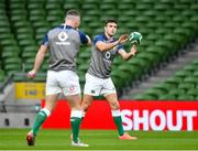 31 January 2020; Conor Murray, right, and John Cooney during an Ireland Rugby captain's run at the Aviva Stadium in Dublin. Photo by Seb Daly/Sportsfile