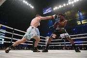 30 January 2020; Demetrius Andrade, right, and Luke Keeler during their World Boxing Organisation World Middle Title fight at The Meridian at Island Gardens in Miami, Florida, USA. Photo by Ed Mulholland/Matchroom Boxing USA via Sportsfile