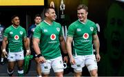 31 January 2020; CJ Stander, left, and Josh van der Flier during the Ireland Rugby captain's run at the Aviva Stadium in Dublin. Photo by Ramsey Cardy/Sportsfile